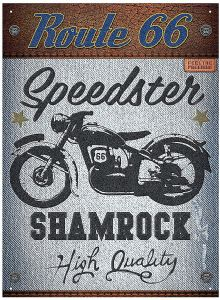 Route 66 Speedster Shamrock Steel Sign    (rh)